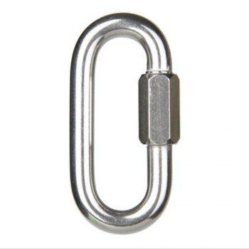 Solid Fine Steel Oval Lock Rock Climbing Carabiner Safety Bearing - SILVER SILVER