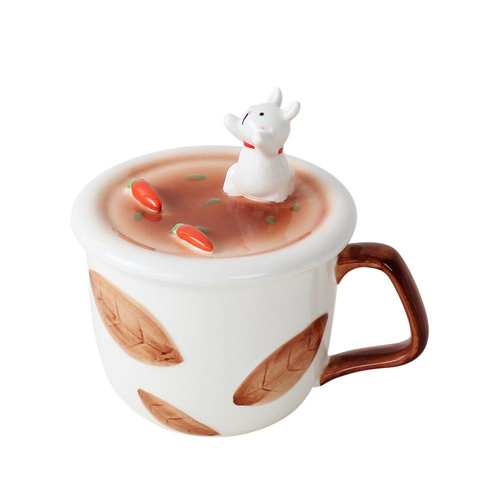350ML Creative Animal Mobile Phone Bracket Ceramic Mug - COLORMIX RABBIT STYLE