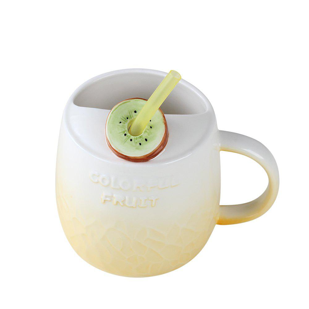 475ML Summer Fruit Ceramic Cup - YELLOW