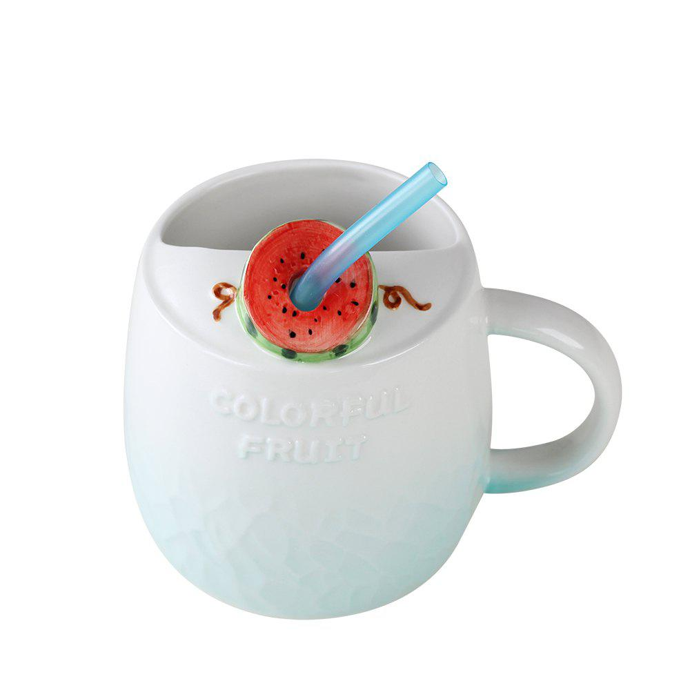 475ML Summer Fruit Ceramic Cup - LIGHT BLUE
