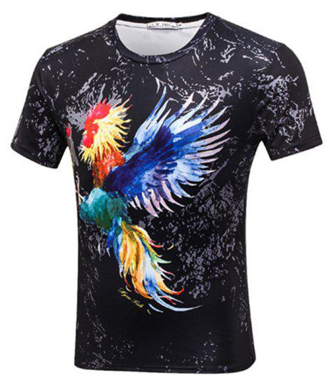 Rooster Printed Short-sleeved T-Shirt - BLACK 3XL