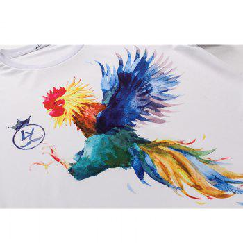 Rooster Printed Short-sleeved T-Shirt - WHITE WHITE
