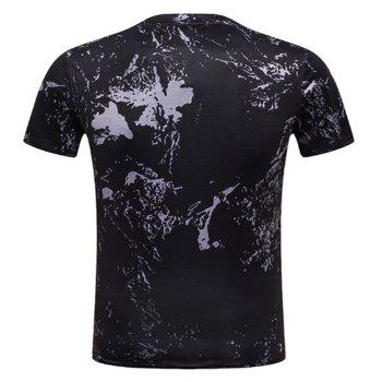 Rooster Printed Short-sleeved T-Shirt - BLACK 2XL