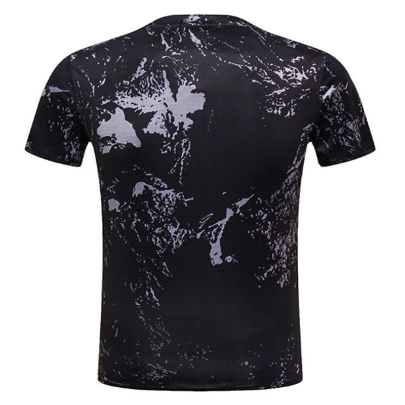 Rooster Printed Short-sleeved T-Shirt - BLACK XL