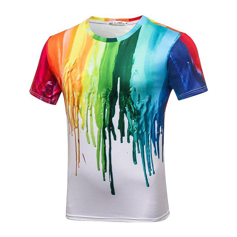 White Printed Men's T-Shirt - WHITE L