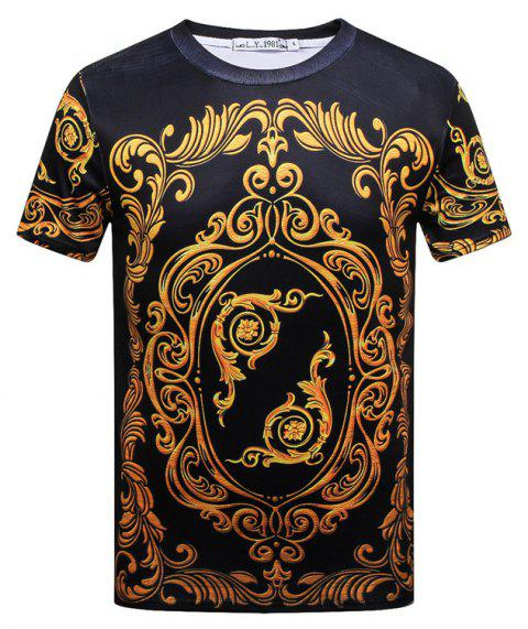Men's Luxury Court 3D Digital Printed Short Sleeves T-shirt - BLACK L