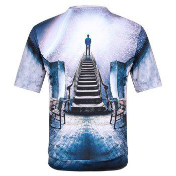 Man's 3D Space Cotton Printed Short Sleeves T-shirt - BLUE BLUE