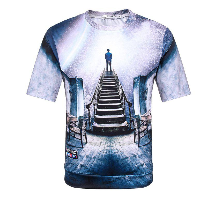 Man's 3D Space Cotton Printed Short Sleeves T-shirt - BLUE L