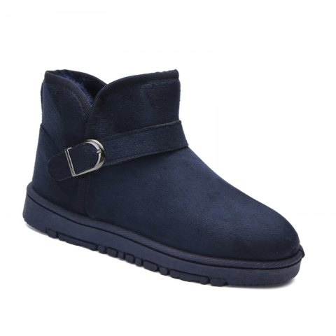 Snow Boots Fur Lined Winter Outdoor Slip On Shoes Ankle Boots - BLUE 40