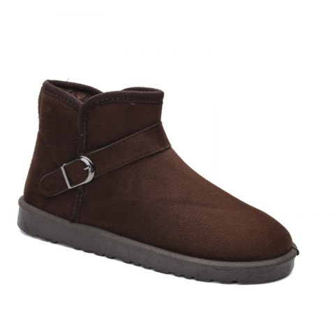 Snow Boots Fur Lined Winter Outdoor Slip On Shoes Ankle Boots - DEEP BROWN 40