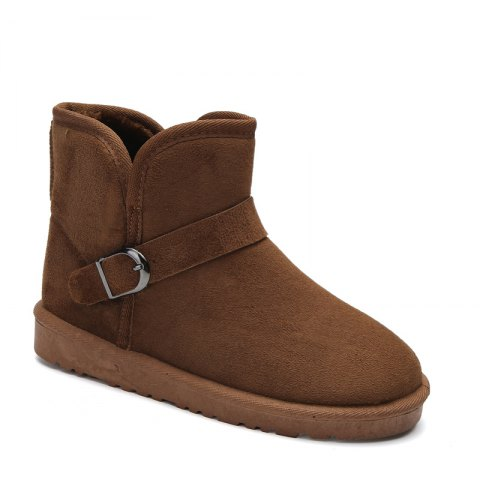 Snow Boots Fur Lined Winter Outdoor Slip On Shoes Ankle Boots - BROWN 45