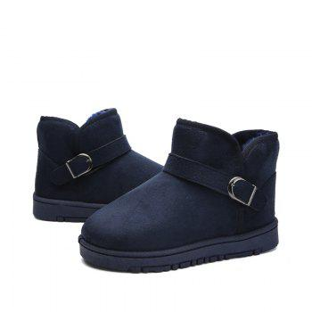 Snow Boots Fur Lined Winter Outdoor Slip On Shoes Ankle Boots - BLUE BLUE