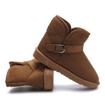 Snow Boots Fur Lined Winter Outdoor Slip On Shoes Ankle Boots - BROWN BROWN