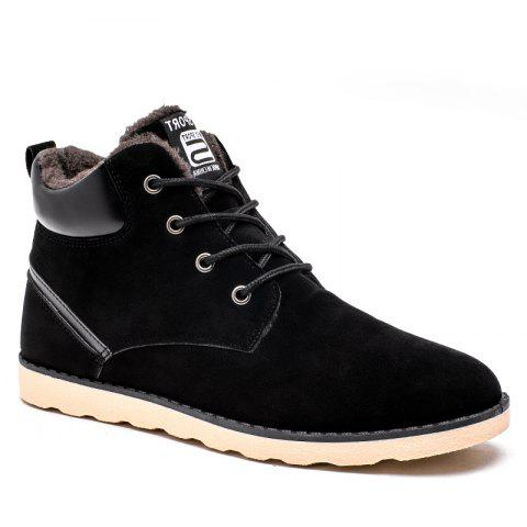 Winter High Vamp Lace Up Cotton-Padded Shoes - BLACK 39