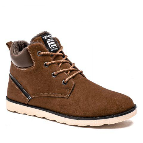 Winter High Vamp Lace Up Cotton-Padded Shoes - BROWN 43