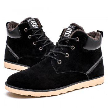 Winter High Vamp Lace Up Cotton-Padded Shoes - BLACK BLACK