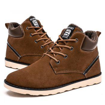 Winter High Vamp Lace Up Cotton-Padded Shoes - BROWN BROWN
