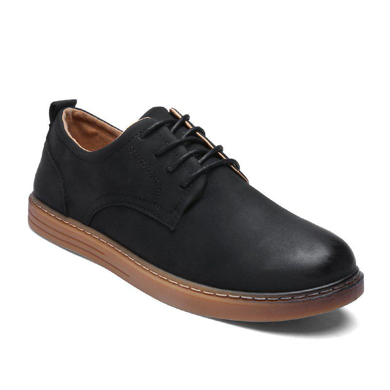 Men Autumn Fashion Brush Leather Shoes - BLACK 43