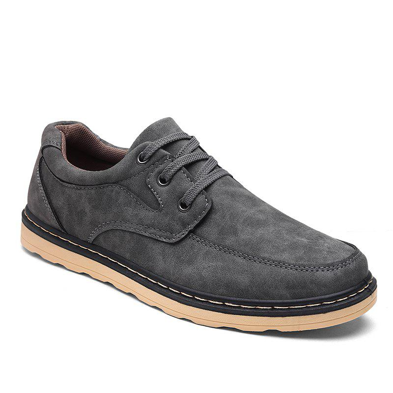 Autumn Men Fashion Leather Shoes - GRAY 43