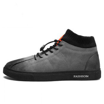 Men Middle Vamp Cotton Padded Fashion Flat Shoes - GRAY GRAY