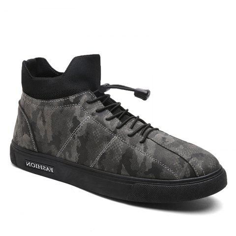 Camouflage Fashion Winter Flat Shoes - CAMOUFLAGE GRAY 44
