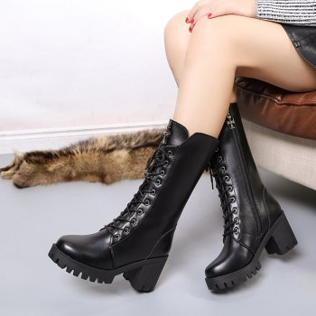 ALS-F16 Thick Boots Thick and High School Women's Shoes - BLACK BLACK