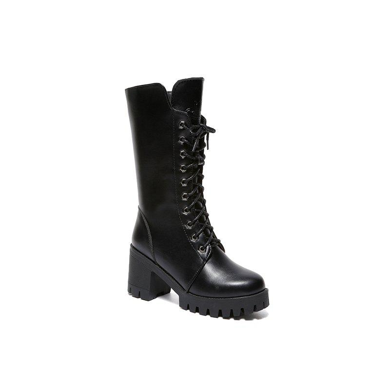 ALS-F16 Thick Boots Thick and High School Women's Shoes - BLACK 36