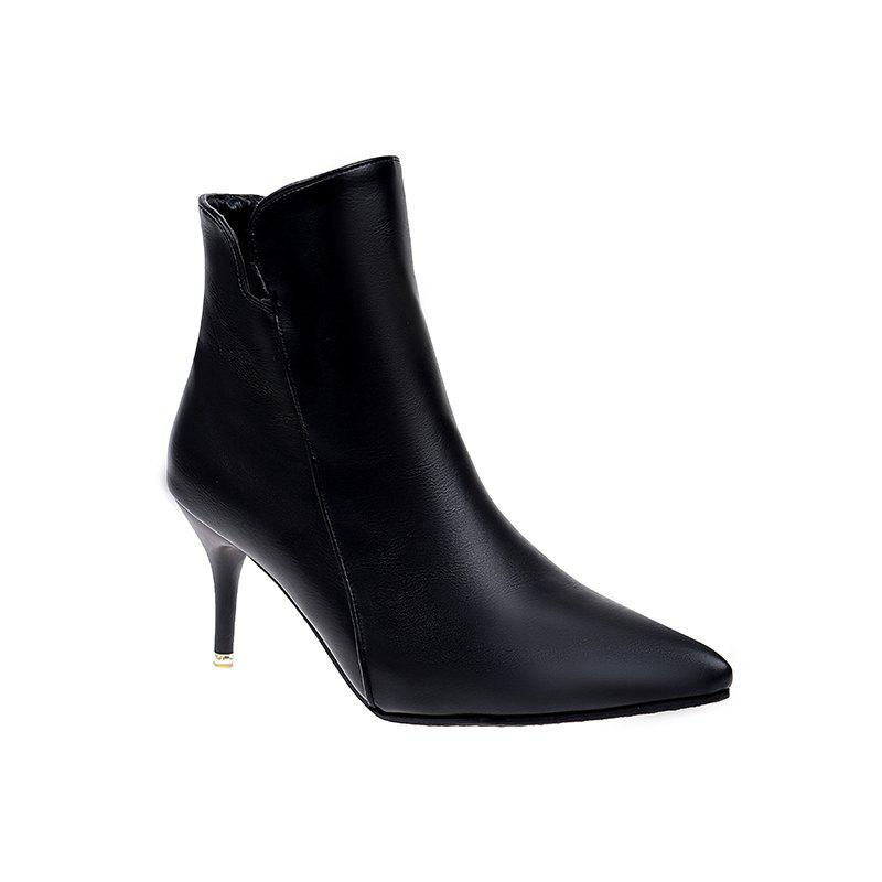 NJ-118Pointed High Heels Zip Martin Bottes - Noir 37