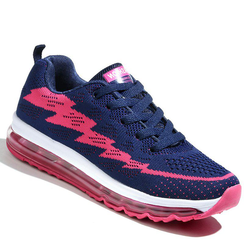 Running Femmes Chaussures Sport Couple Jogging en plein air Marcher Athletic Sneakers - Rouge rose profond 39