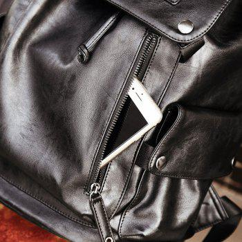 Vintage Multipourpose Leather Backpack for Men - BLACK BLACK