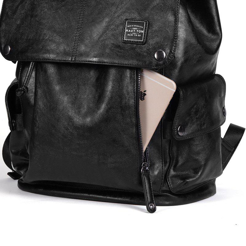 Vintage Multipourpose Leather Backpack for Men - BLACK 30.5X15.5X43CM