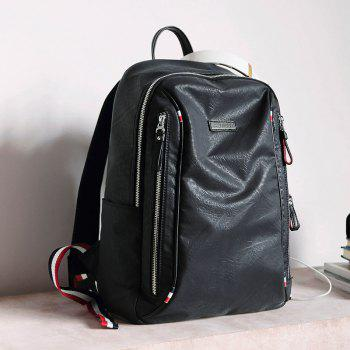 HAUT TON Waterproof Canvas Backpack Rucksack Laptop Computer Bag Daypack - BLACK