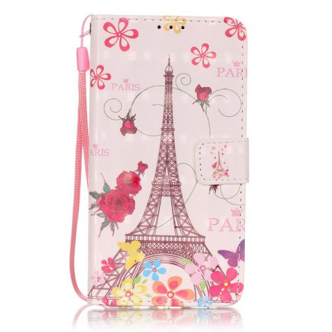 Wkae Three Dimensional Color Pattern Leather Case for Huawei P9 Lite - ROSE RED