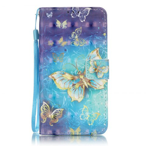 Wkae Three Dimensional Color Pattern Leather Case for Huawei P9 Lite - BLUE