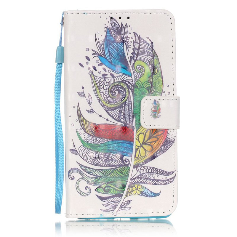 Wkae Three Dimensional Color Pattern Leather Case for Huawei P9 Lite - WHITE/GREEN