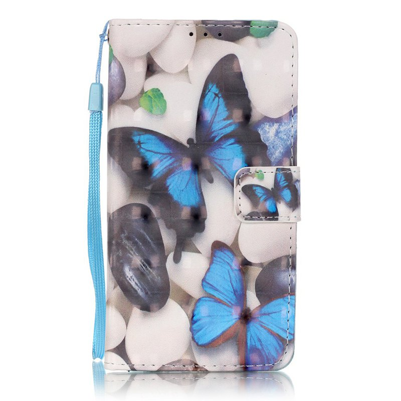 Wkae Three Dimensional Color Pattern Leather Case for Huawei P9 Lite - BLUE/WHITE