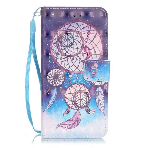 Wkae Three Dimensional Color Pattern Leather Case for IPhone 7 / 8 - BLUE / BROWN