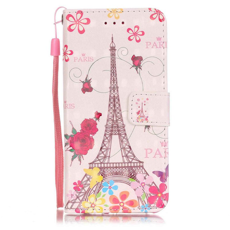 Wkae Three Dimensional Color Pattern Leather Case for IPhone 7 / 8 - ROSE / WHITE