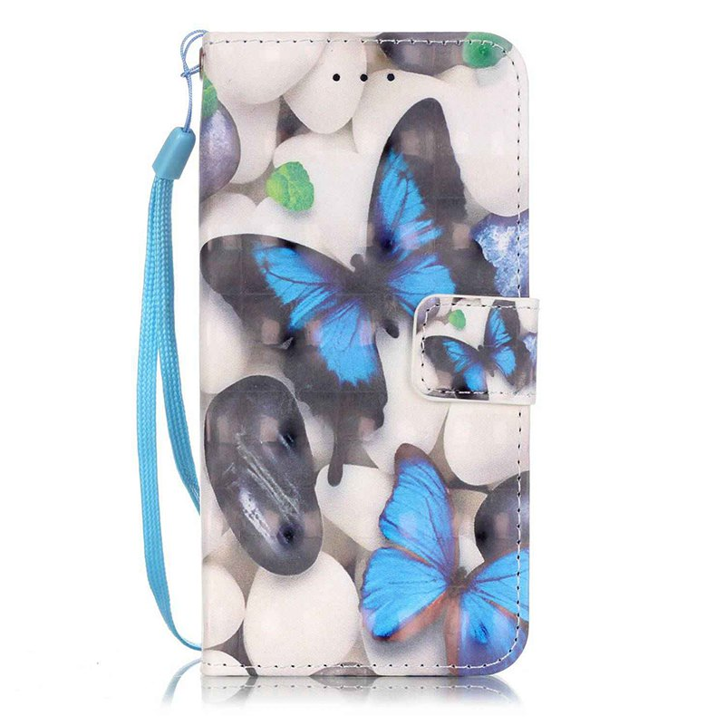 Wkae Three Dimensional Color Pattern Leather Case for IPhone 7 / 8 - BLUE / WHITE / YELLOW