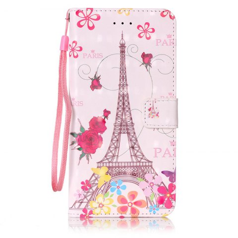 Wkae Three Dimensional Color Pattern Leather Case for iPhone 7 Plus / 8 Plus - ROSE RED
