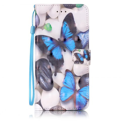 Wkae Three Dimensional Color Pattern Leather Case for iPhone 7 Plus / 8 Plus - BLUE / WHITE / YELLOW