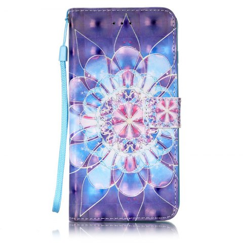 Wkae Three Dimensional Color Pattern Leather Case for iPhone 7 Plus / 8 Plus - DEEP BLUE
