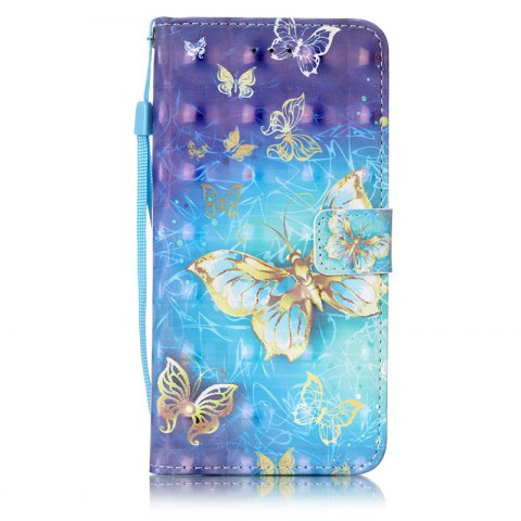 Wkae Three Dimensional Color Pattern Leather Case for iPhone 7 Plus / 8 Plus - BLUE