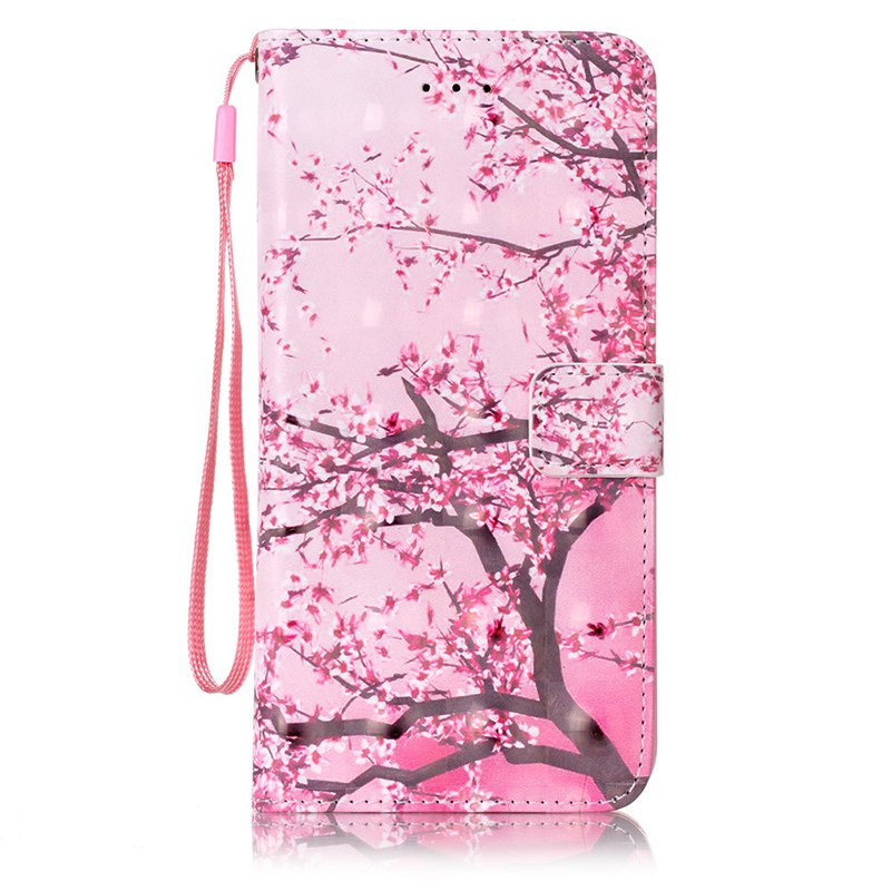 Wkae Three Dimensional Color Pattern Leather Case for iPhone 7 Plus / 8 Plus - PINK