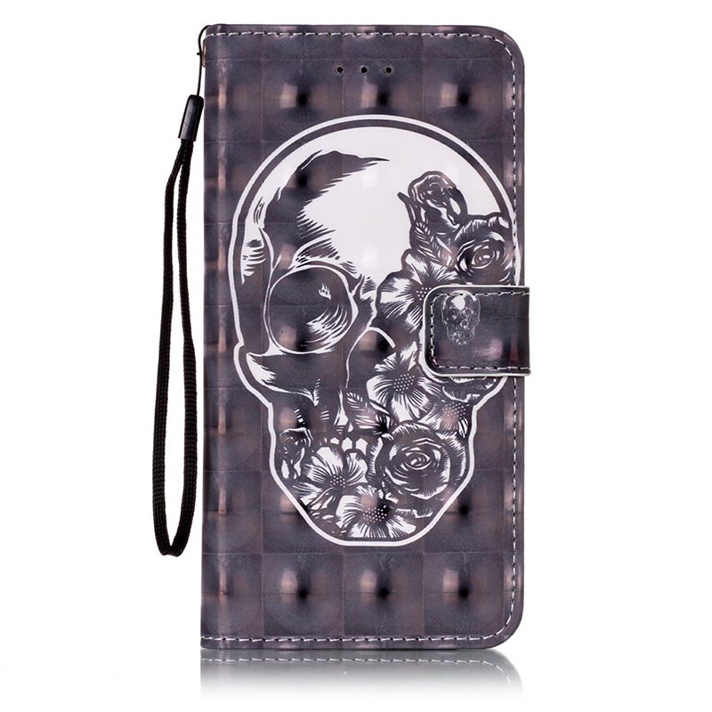 Wkae Three Dimensional Color Pattern Leather Case for iPhone 7 Plus / 8 Plus - BLACK