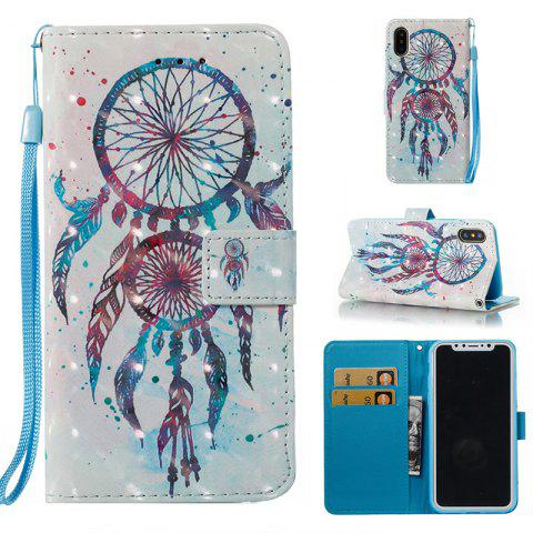 Wkae Multicolour Pattern Leather Case for IPhone X - BLUE/WHITE