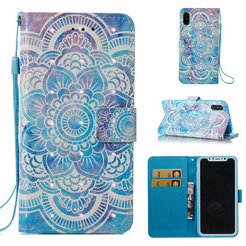 Wkae Multicolour Pattern Leather Case for IPhone X - BLUE