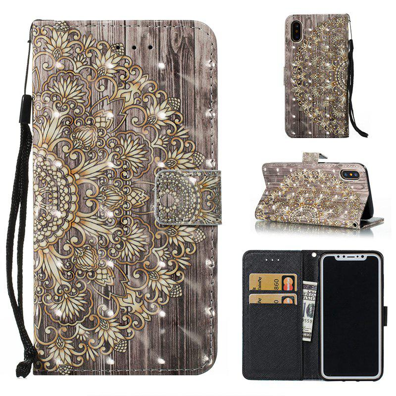 Wkae Multicolour Pattern Leather Case for IPhone X - GOLD/GREY
