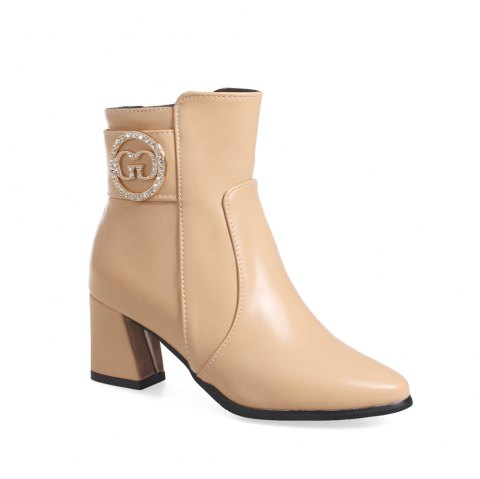 08fc6b0827 Women's Ankle Boots Solid Color All-match Thick Heeled Elegant Trendy Shoes  - APRICOT 35
