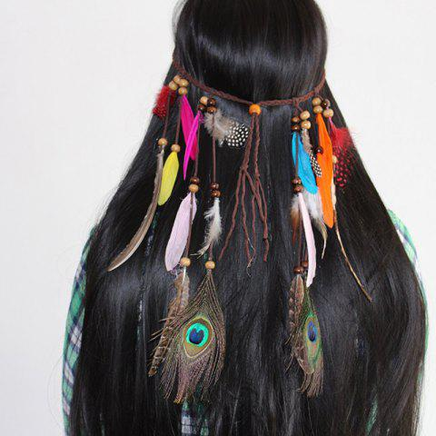 Feather Headdress Fashion Fringed Hair Rope - CHOCOLATE
